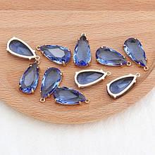 Коннектор для украшений, капля большая 2,3см*1,1см, контур - метал, цвет синий