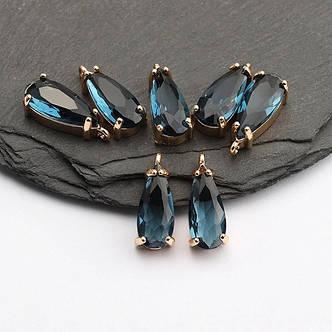 Коннектор для украшений, капля маленькая синяя 1,8см*0,6см, контур - метал. цвет камня синий, фото 2