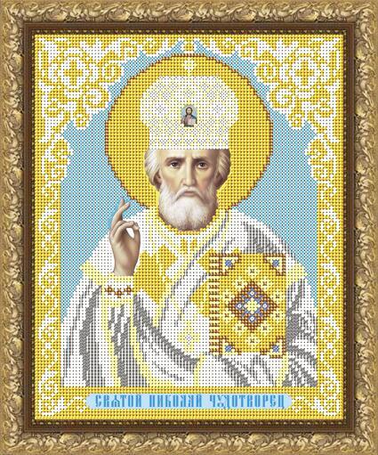 """Рисунок на ткани для вышивания бисером """"Святой Николай Чудотворец в белом одеянии"""