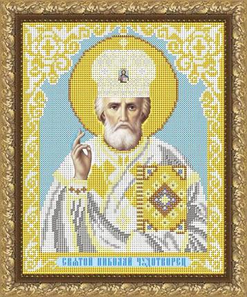 """Рисунок на ткани для вышивания бисером """"Святой Николай Чудотворец в белом одеянии, фото 2"""