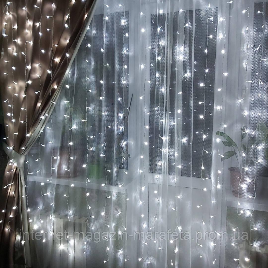 "Новогодняя комнатная гирлянда ""Штора"" 2м/2м~синий, х.белый, т.белый"