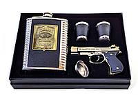 Фляга з чарками і запальничкою в подарунковій упаковці 24х17х4см (33844)