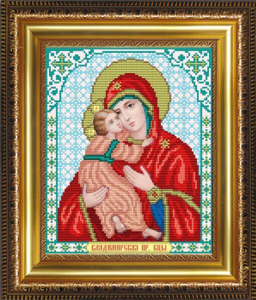 """Рисунок на ткани для вышивания бисером """"Пресвятая Богородица Владимирская"""""""