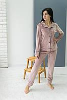 Піжама жіноча комплект на гудзиках V. Velika пудра-капучіно (сорочка+штани) велюрова, фото 1