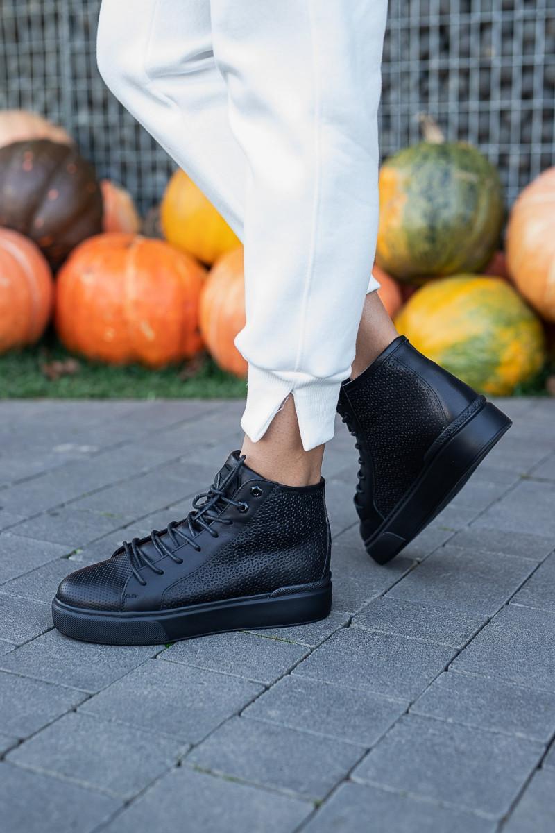 Женские ботинки кожаные весна/осень черные Carlo Pachini 2020