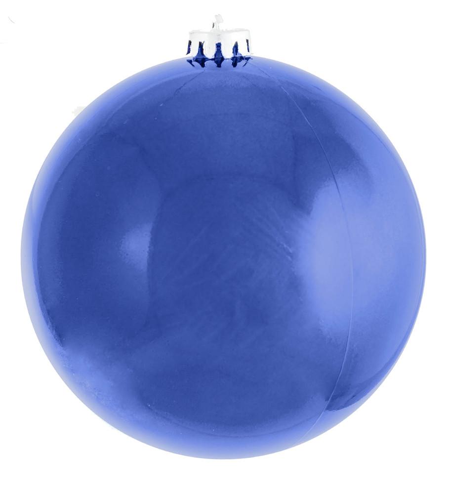 Шар новогодний елочный пластиковый d-25 см синий глянец