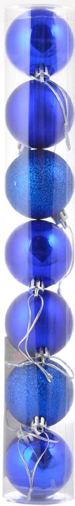 Шар новогодний елочный пластиковый d-5 cм 7 шт/уп, синий