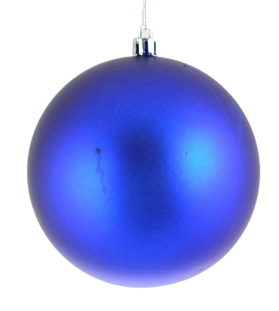 Шар новогодний елочный пластиковый d-10 см синий матовый