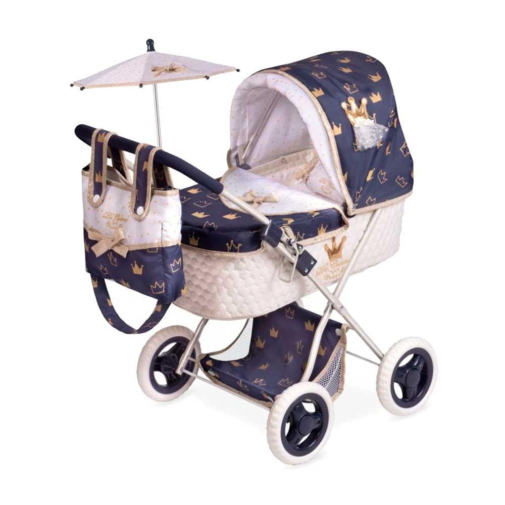Классическая коляска для кукол и пупсов с королевской отделкой, сумкой и зонтиком 85032 синяя