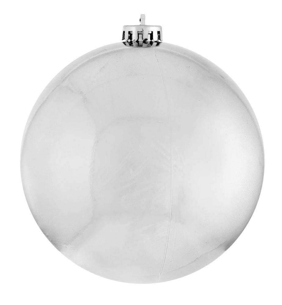 Шар новогодний елочный пластиковый d-25 см серебряный глянец