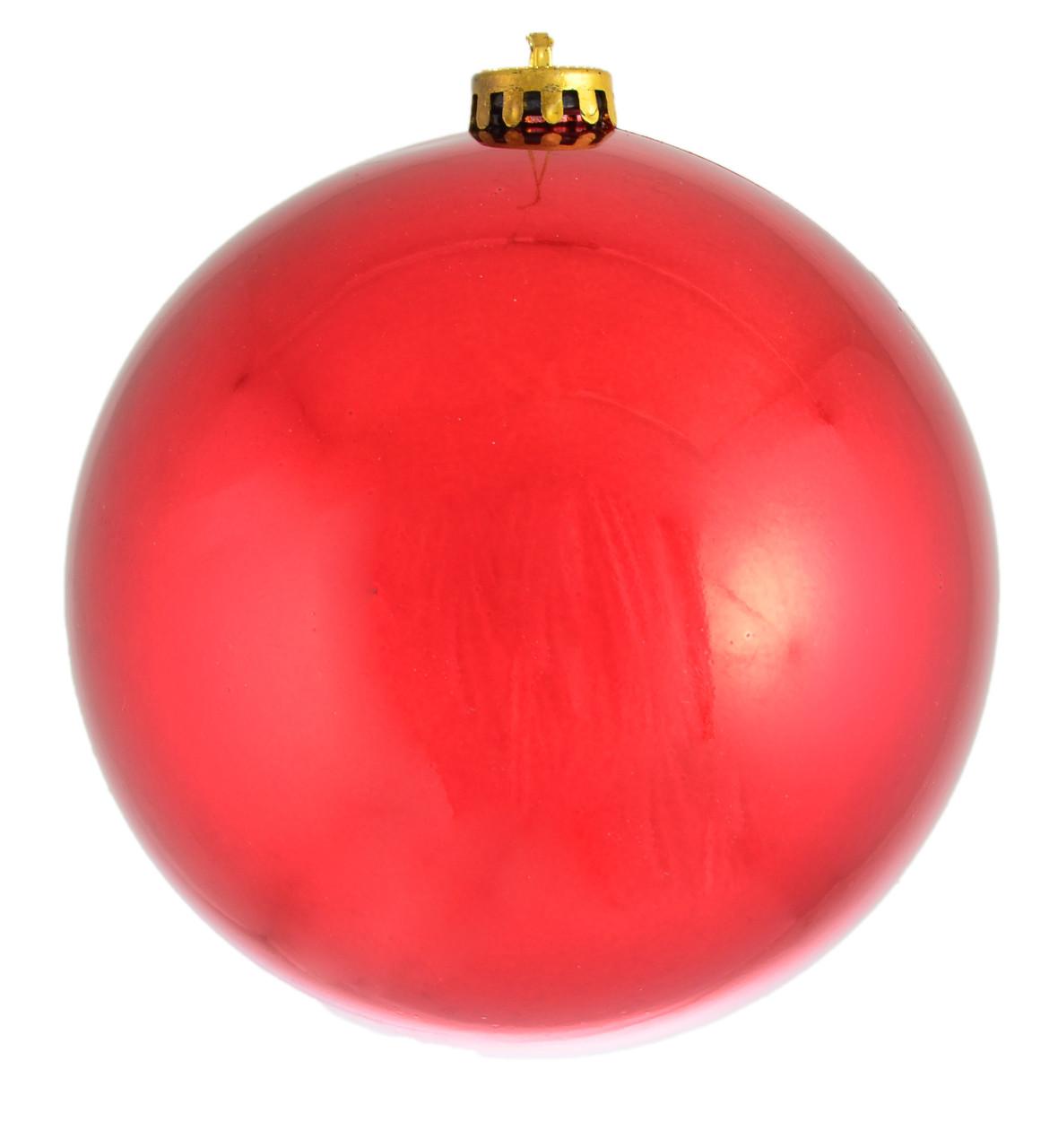 Шар новогодний елочный пластиковый d-15 см красный глянец