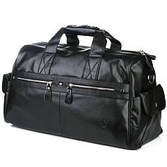 Сумка дорожная из эко-кожи багажная спортивная черная на один отдел Bradford A66259