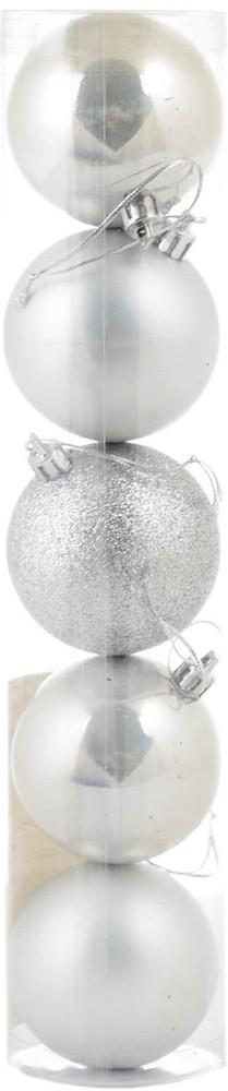 Шар новогодний елочный пластиковый d-6 cм 5 шт/уп, серебряный