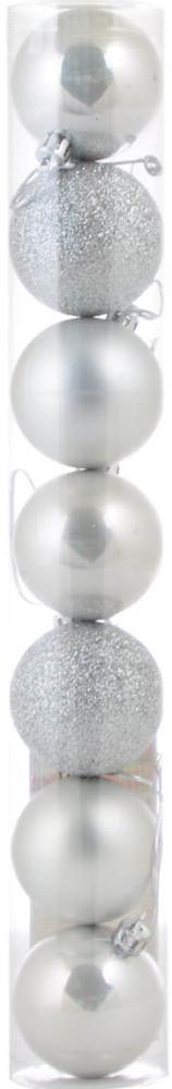 Шар новогодний елочный пластиковый d-5 cм 7 шт/уп, серебряный