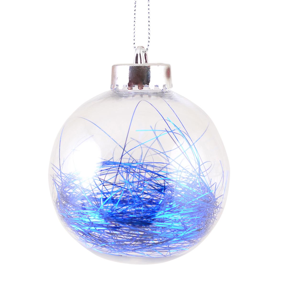 Шар новогодний елочный пластиковый с наполнением из синего дождика d-8 см