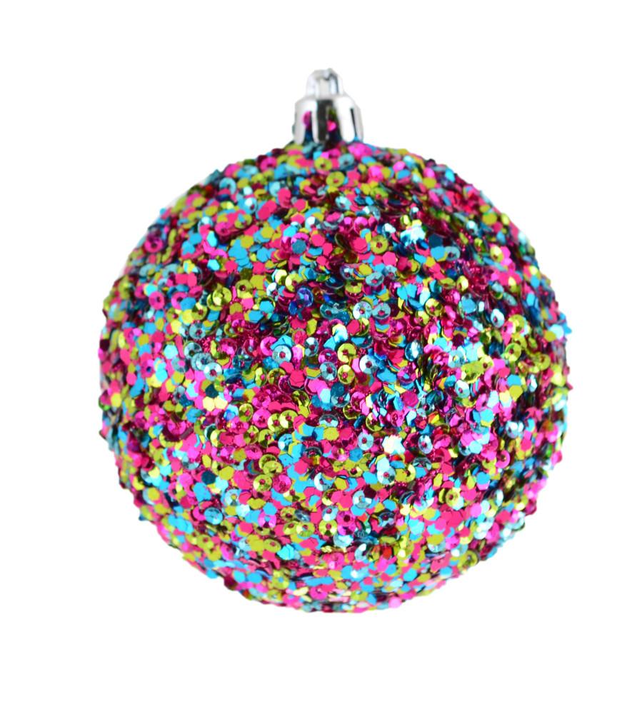 """Шар новогодний елочный пластиковый """"Ассорти"""", многоцветный d-8 см"""