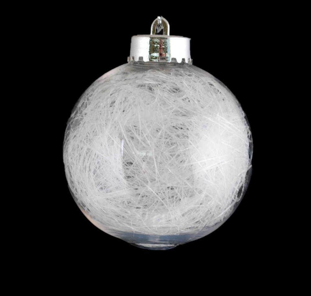 """Шар новогодний елочный пластиковый с наполнением """"Волосы ангела"""" d-8 см"""