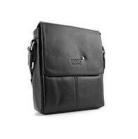 Мужская кожаная маленькая сумка 9068-1 черная через плечо натуральная кожа, фото 1