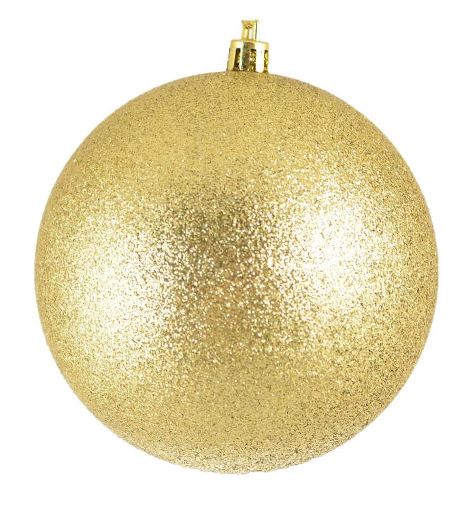 Куля новорічна ялинкова пластиковий d-10 см золотий глитер