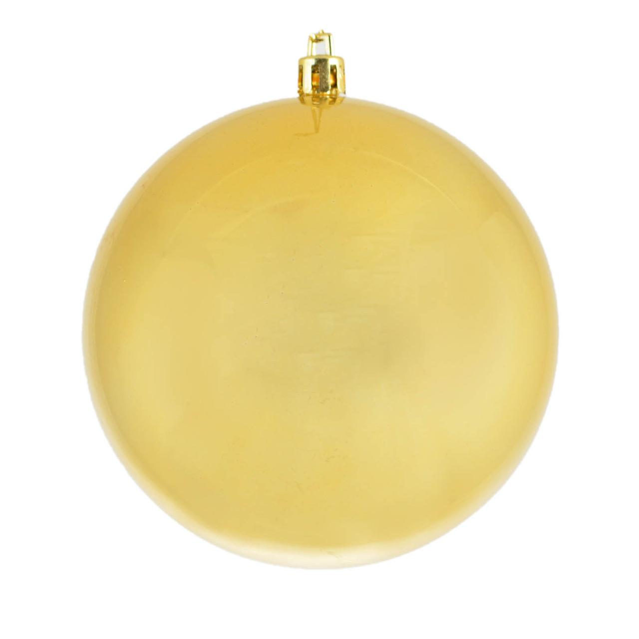 Шар новогодний елочный пластиковый d-10 см золотой перламутр