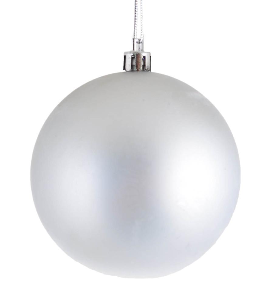 Шар новогодний елочный пластиковый d-8 см серебряный матовый