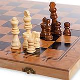 Шахматы, шашки, нарды 3 в 1 деревянные S3029 (фигуры-дерево, р-р доски 29см x 29см), фото 2