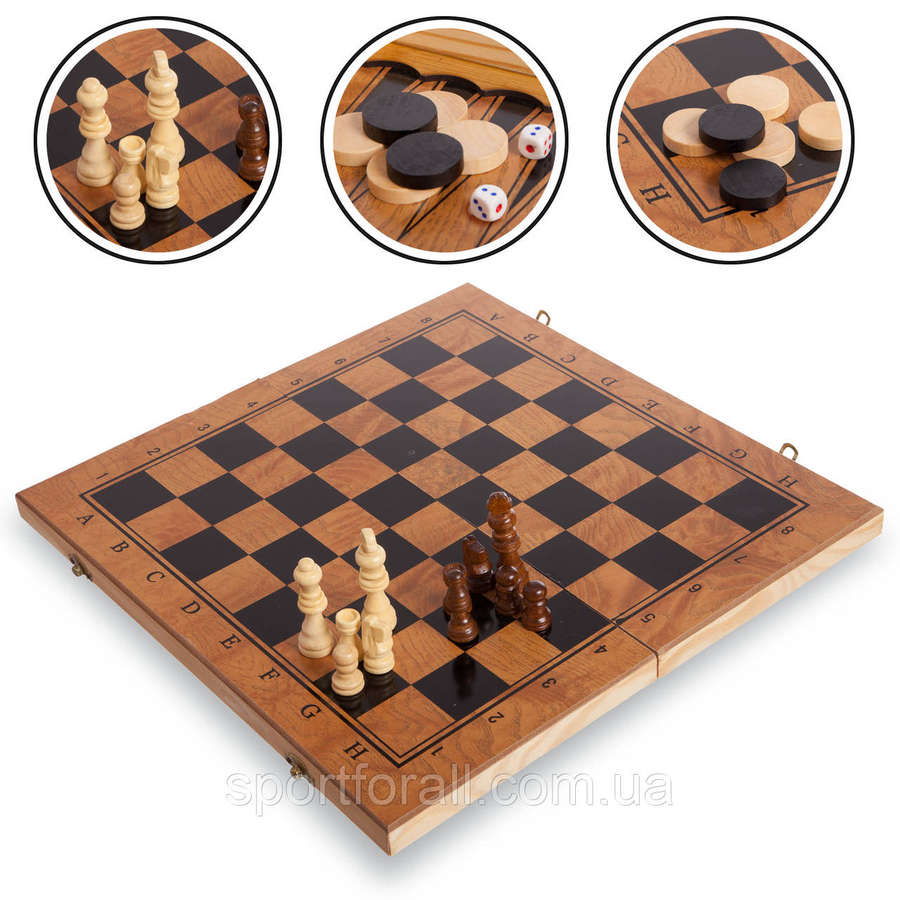 Шахматы, шашки, нарды 3 в 1 деревянные S3029 (фигуры-дерево, р-р доски 29см x 29см)