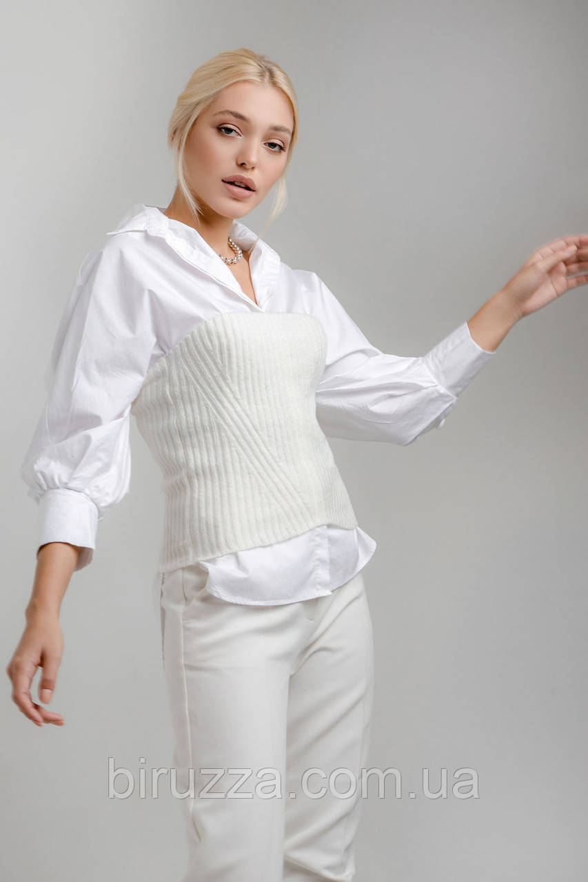 Топ модний вязаний без бретель, в наявності колір білий, розмір універсал