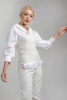 Топ модний вязаний без бретель, в наявності колір білий, розмір універсал, фото 1