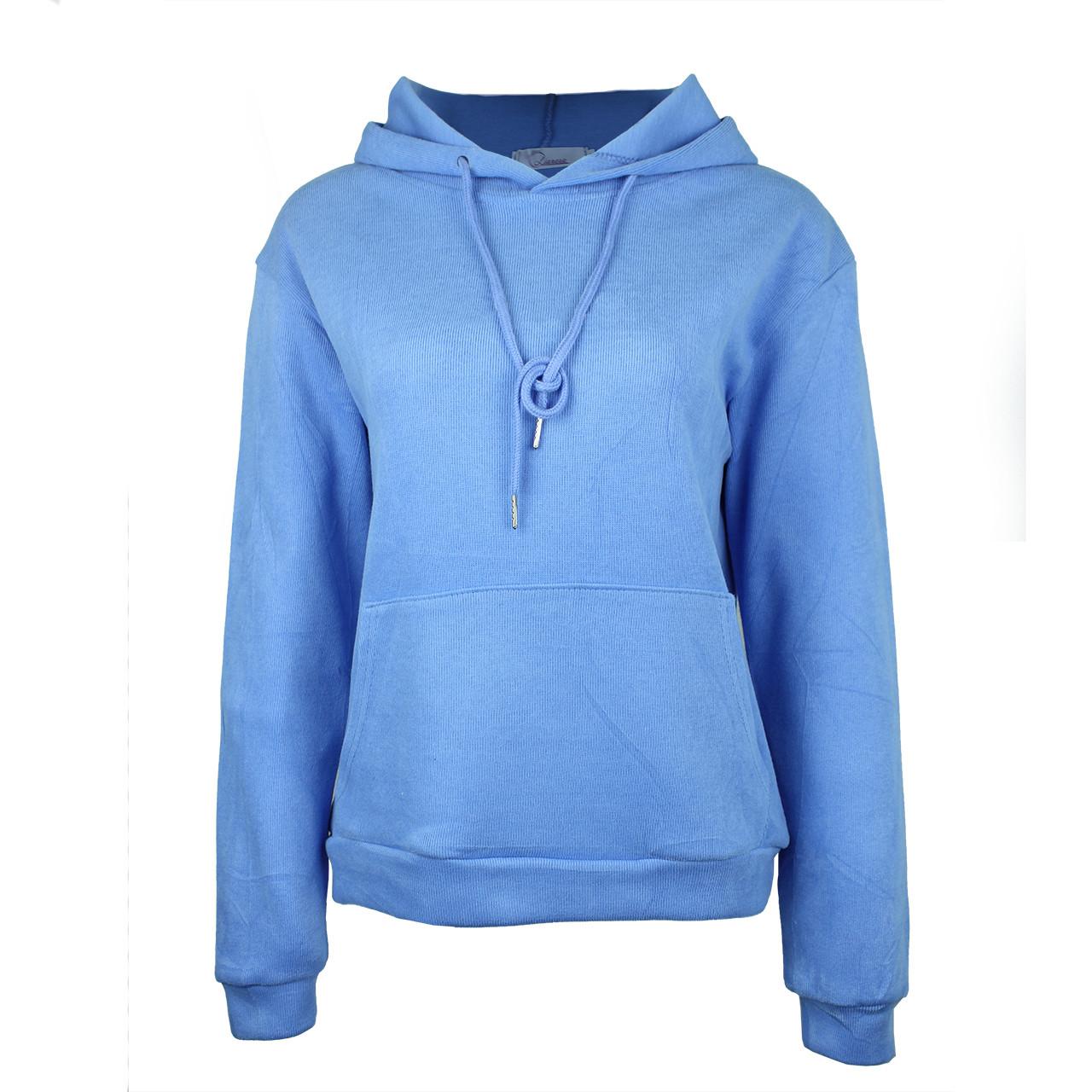 Голубые худи однотонные с карманом хорошего качества женское голубое худи с капюшоном