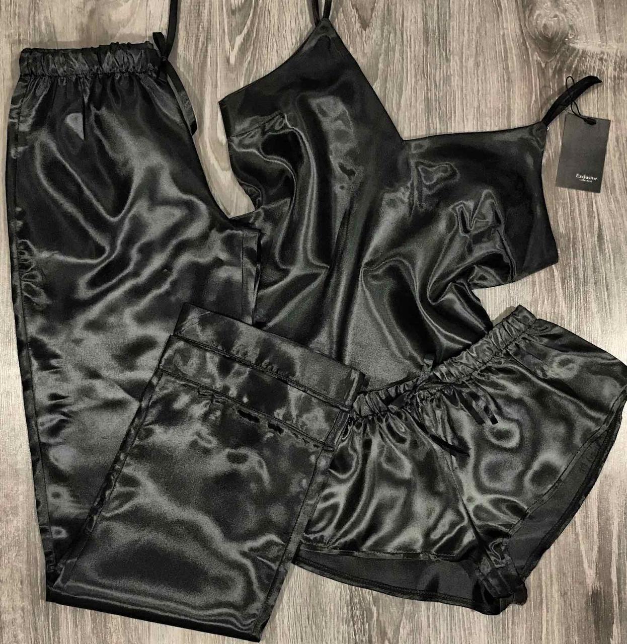 Чорний атласний комплект для будинку жіночий, піжама трійка - майка-шорти-штани.