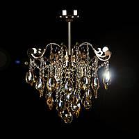 Припотолочная хрустальная люстра с янтарным камнем на 4 лампочки СветМира VL-2421/4