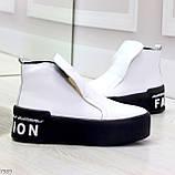 Трендовые белые женские зимние ботинки из натуральной кожи на утолщенной подошве 36-23,5см, фото 2