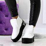 Трендовые белые женские зимние ботинки из натуральной кожи на утолщенной подошве 36-23,5см, фото 5