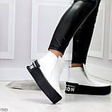 Трендовые белые женские зимние ботинки из натуральной кожи на утолщенной подошве 36-23,5см, фото 6
