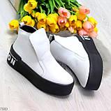 Трендовые белые женские зимние ботинки из натуральной кожи на утолщенной подошве 36-23,5см, фото 7