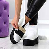 Трендовые белые женские зимние ботинки из натуральной кожи на утолщенной подошве 36-23,5см, фото 9