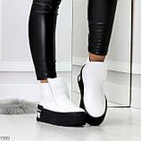 Трендовые белые женские зимние ботинки из натуральной кожи на утолщенной подошве 36-23,5см, фото 10