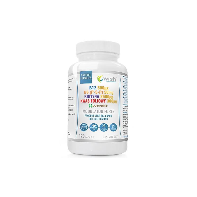 Модулятор гомоцистеина, Витамин B6, B7 Биотин, B9 Активная фолиевая кислота, B12 Метилкобаламин 120 caps, Wish