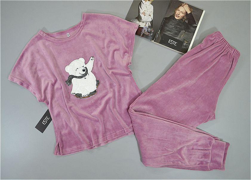 Теплые пижамы женские. Комплект штаны и футболка с рисунком микро-велюр.