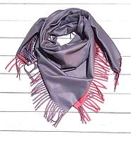 Платок Деми 100*105 см серый/розовый, фото 1