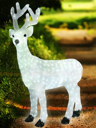 Світлодіодний акриловий білий олень