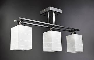 Люстра стельова на 3 лампочки (29х10х56 див.) Чорний, хром YR-50611/3