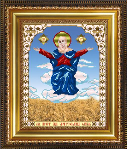 """Рисунок на ткани для вышивания бисером """"Образ Пресвятой Богородицы Спорительница Хлебов"""""""