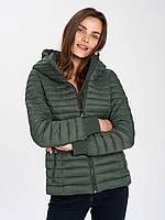 Cтеганая короткая женская куртка зеленая VOLCANO J UMA, размер L-XL//