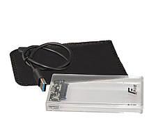 """Внешний карман Frime SATA HDD/SSD 2.5"""", USB 3.0, Plastic, Clear (FHE80.25U30)"""