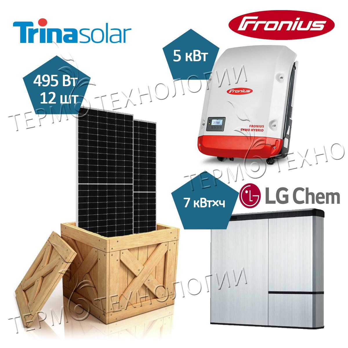 Комплект для гибридной солнечной станции 5 кВт Fronius и Trina Solar 495 Вт