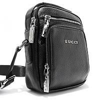 Чоловіча шкіряна маленька сумка 6029-2 чорна на плече з натуральної шкіри, фото 1