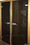 Стеклянные межкомнатные двери с рисунком в деревянной коробке, фото 3