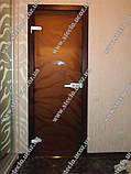 Стеклянные межкомнатные двери с рисунком в деревянной коробке, фото 4